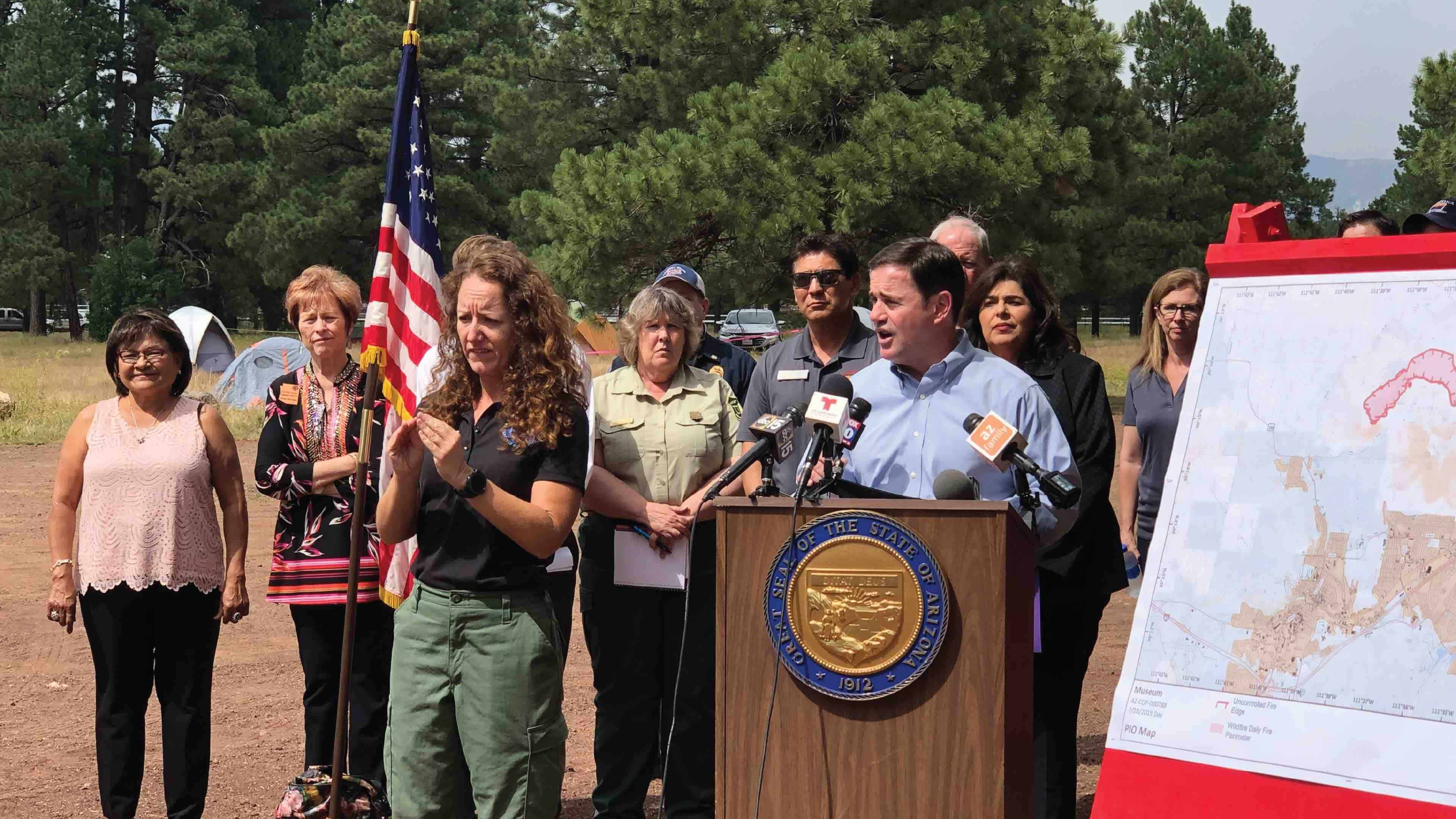 Governor Doug Ducey After Surveying the Museum Fire Declares State of Emergency